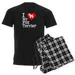 I Love My Fox Terrier Men's Dark Pajamas