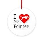 I Love My Pointer Ornament (Round)
