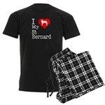 I Love My Saint Bernard Men's Dark Pajamas