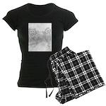 Siberian Husky Outline Women's Dark Pajamas