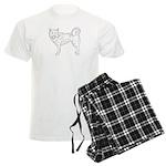 Siberian Husky Outline Men's Light Pajamas
