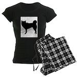 Siberian Husky Silhouette Women's Dark Pajamas