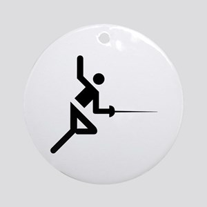 Fencing Silhouette Ornament (Round)