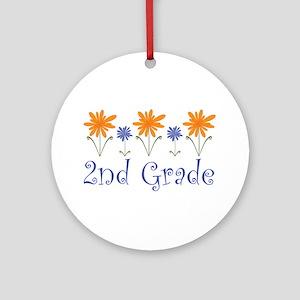 Cute Second Grade Teacher Ornament (Round)