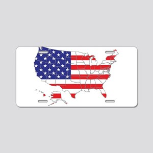 USA Flag Map Aluminum License Plate
