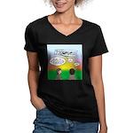 Flying the Wright Flye Women's V-Neck Dark T-Shirt