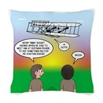 Flying the Wright Flyer Woven Throw Pillow