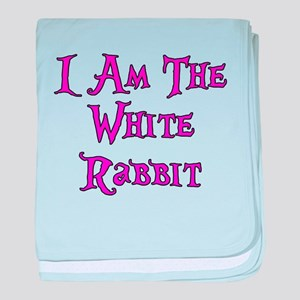 I Am The White Rabbit Follow Me baby blanket
