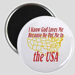 God Loves Me in the USA Magnet