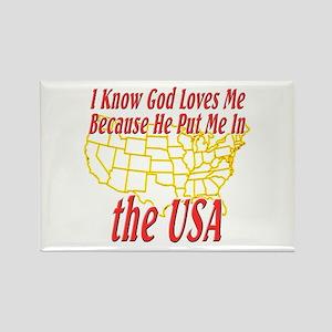 God Loves Me in the USA Rectangle Magnet