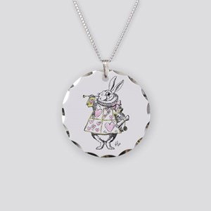 White rabbit Necklace Circle Charm