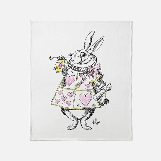 White rabbit Throw Blanket