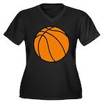 Basketball Women's Plus Size V-Neck Dark T-Shirt