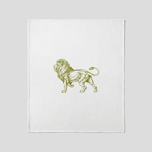 Gold Lion Throw Blanket