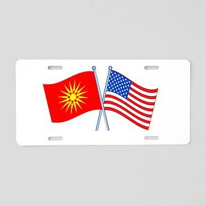 Macedonia USA America Flag Aluminum License Plate