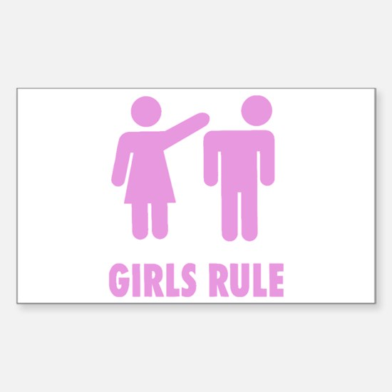 Girls Rule! Sticker (Rectangle)