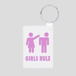 Girls Rule! Aluminum Photo Keychain