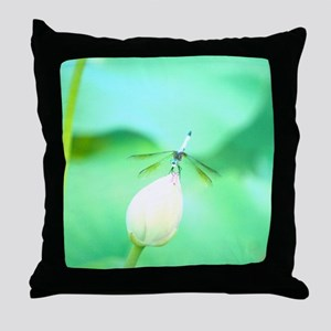 Dragonfly on lotus blossom Throw Pillow