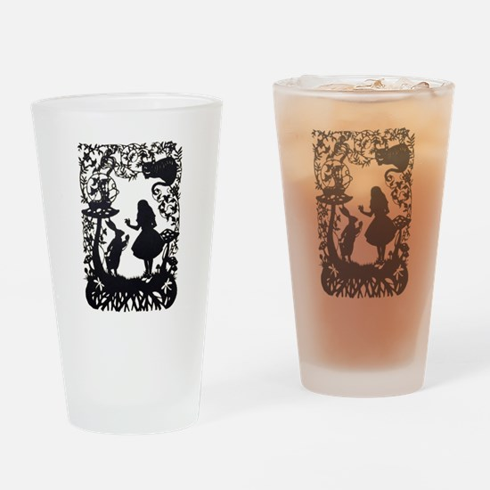 Alice in Wonderland Silhouette Drinking Glass