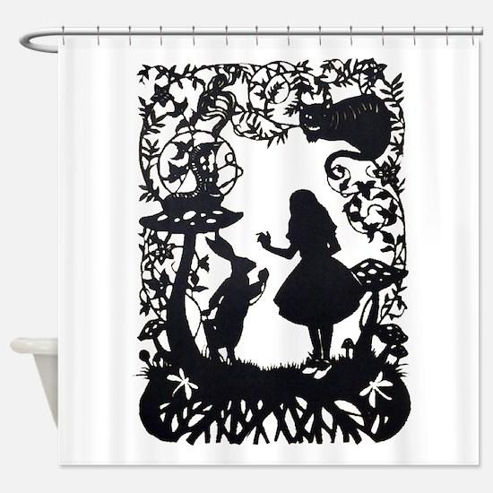Alice in Wonderland Silhouette Shower Curtain