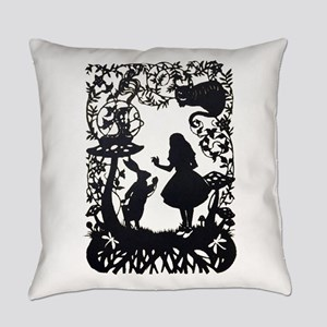 Alice in Wonderland Silhouette Everyday Pillow