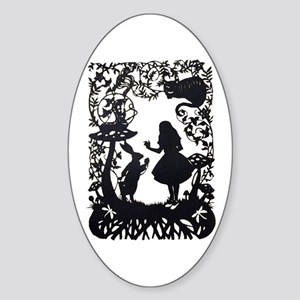 Alice in Wonderland Silhouette Sticker (Oval)