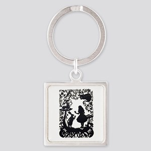 Alice in Wonderland Silhouette Square Keychain