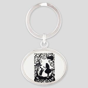 Alice in Wonderland Silhouette Oval Keychain