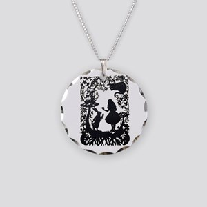 Alice in Wonderland Silhouet Necklace Circle Charm