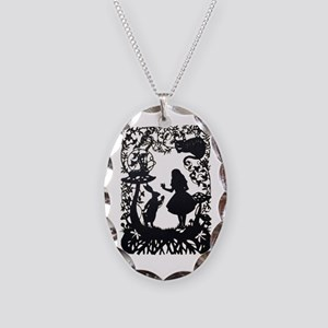 Alice in Wonderland Silhouette Necklace Oval Charm
