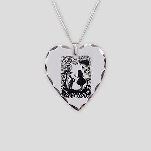 Alice in Wonderland Silhouett Necklace Heart Charm