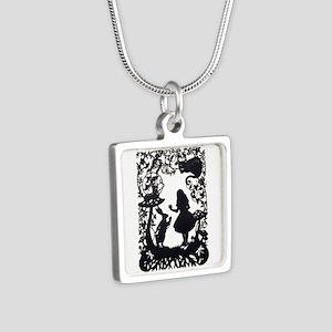 Alice in Wonderland Silhou Silver Square Necklace