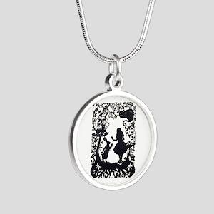 Alice in Wonderland Silhouet Silver Round Necklace