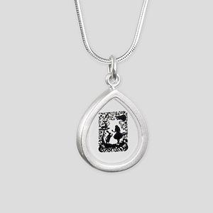Alice in Wonderland Silh Silver Teardrop Necklace