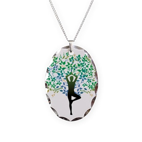 TREE POSE YOGA Necklace Oval Charm