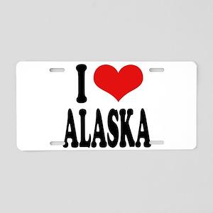 I Love Alaska Aluminum License Plate