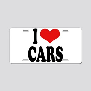 I Love Cars Aluminum License Plate