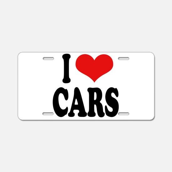 I Love Cars Aluminum License Plate