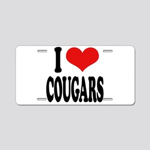 I Love Cougars Aluminum License Plate