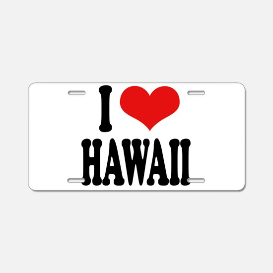 I Love Hawaii Aluminum License Plate