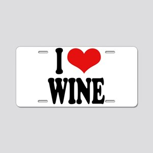 I Love Wine Aluminum License Plate