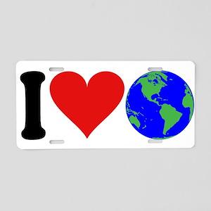 I Love Earth (design) Aluminum License Plate