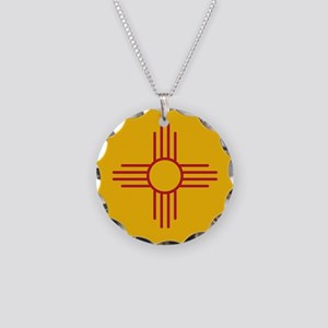 New Mexico State Flag Necklace Circle Charm