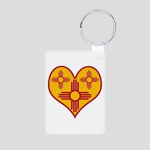 New Mexico Zia Heart Aluminum Photo Keychain