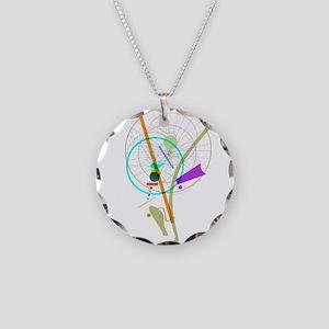 Bike Flower Necklace Circle Charm