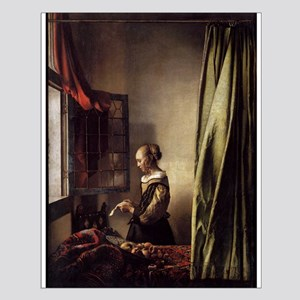 Girl Reading a Letter at an O Small Poster