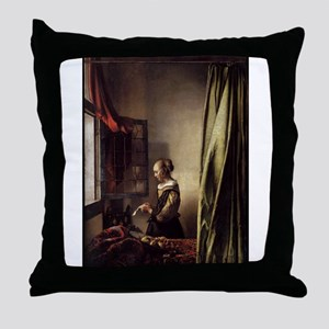 Girl Reading a Letter at an O Throw Pillow