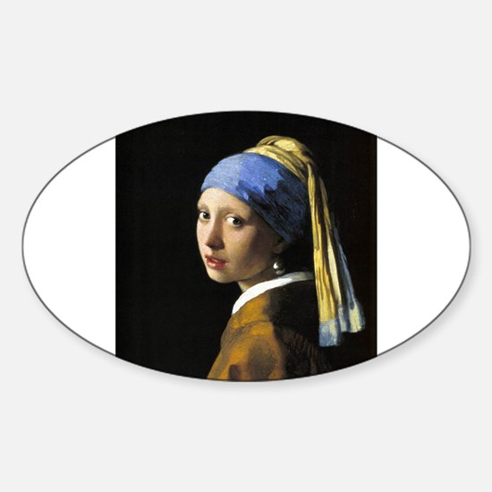 Girl with a Pearl Earring Sticker (Oval)