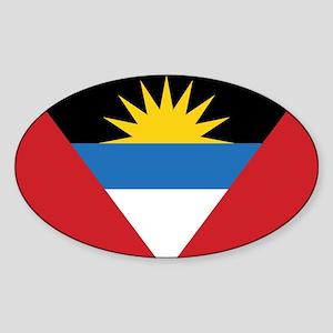 Antigua Flag Sticker (Oval)