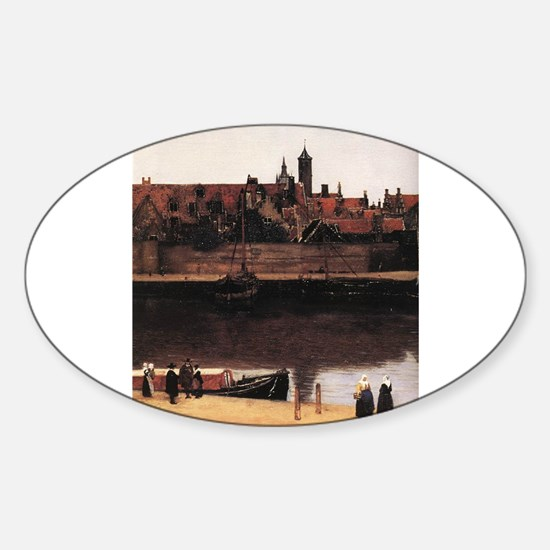 View of Delft (detail) Sticker (Oval)